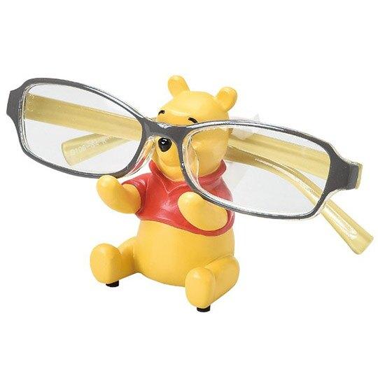 小禮堂 迪士尼 小熊維尼 造型陶瓷眼鏡架 眼鏡收納架 陶瓷置物架 小物架 (黃 坐姿)