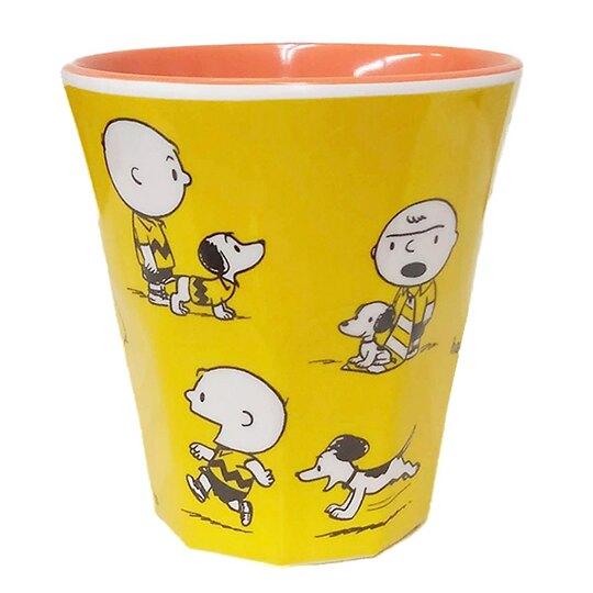 小禮堂 史努比 無把美耐皿杯 塑膠杯 兒童水杯 270ml (黃 70週年)