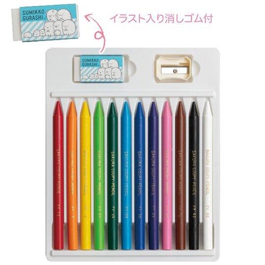 小禮堂 角落生物 日製 12色蠟筆組 彩繪筆 塗鴉筆 色鉛筆 (看書)