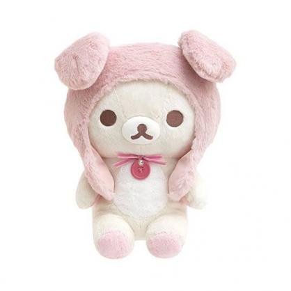 小禮堂 懶懶熊 牛奶熊 沙包玩偶 絨毛玩偶 沙包娃娃 (M 粉米 兔耳帽)