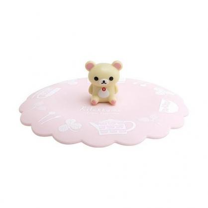 小禮堂 懶懶熊 牛奶熊 立體造型矽膠杯蓋 防漏杯蓋 造型杯蓋 直徑11cm (粉米 坐姿)