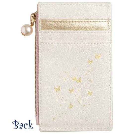 小禮堂 憂傷馬戲團 皮質拉鍊票卡零錢包 票卡夾 證件夾 小物包 (粉藍 直紋)
