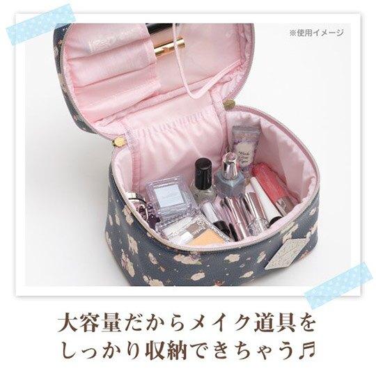 小禮堂 憂傷馬戲團 皮質手提化妝包 皮質化妝包 盥洗包 化妝箱 (深藍 玫瑰)
