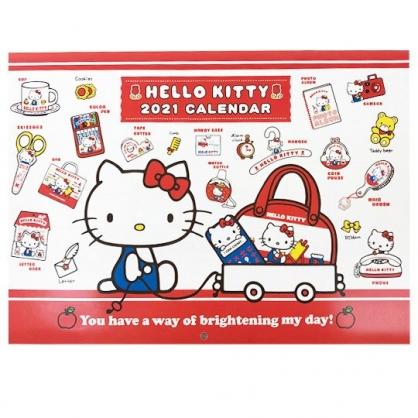 小禮堂 Hello Kitty 日製 2021 A4掛曆月曆 壁掛月曆 行事曆 年曆 (紅白 物品)