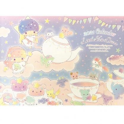 小禮堂 雙子星 日製 2021 A4掛曆月曆 壁掛月曆 行事曆 年曆 (粉藍 茶壺)