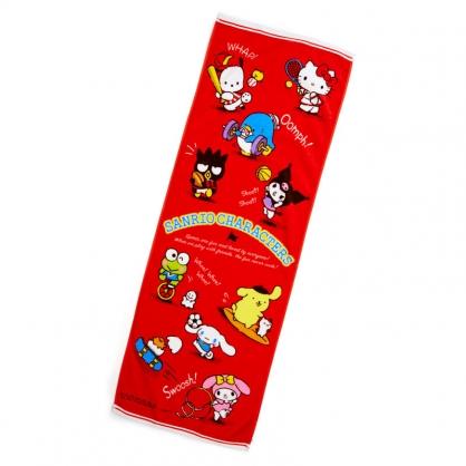 小禮堂 Sanrio大集合 純棉割絨浴巾 身體毛巾 運動毛巾 40x110cm (紅 應援啦啦隊)