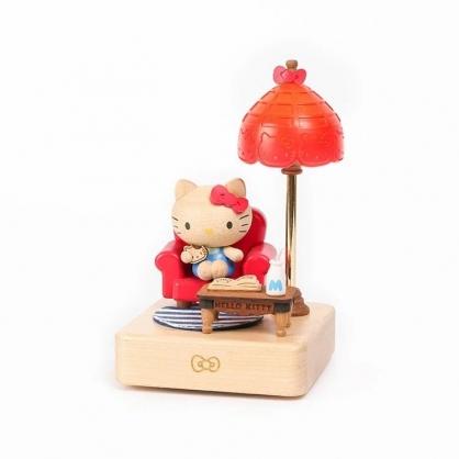 小禮堂 Hello Kitty 造型木質觸控夜燈 床頭燈 小夜燈 擺飾燈 (紅棕 沙發)