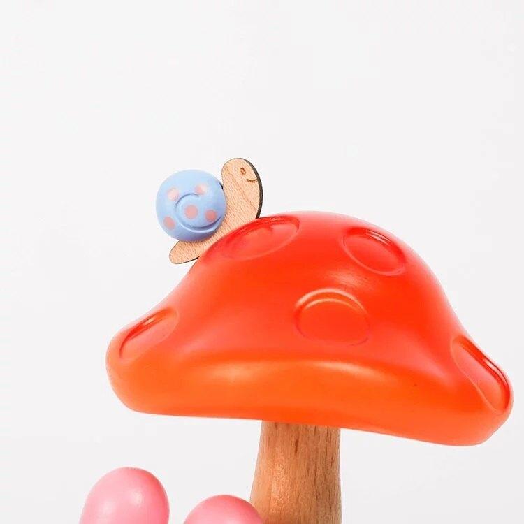 小禮堂 美樂蒂 造型木質觸控夜燈 床頭燈 小夜燈 擺飾燈 (綠棕 蘑菇)