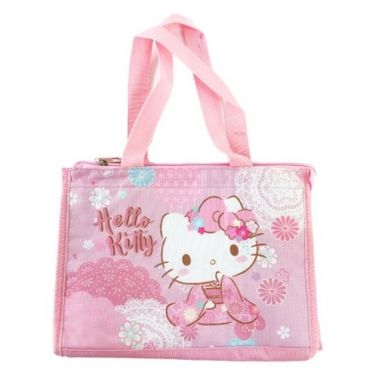 小禮堂 Hello Kitty 方形尼龍保冷便當袋 保冷提袋 野餐袋 手提袋 (粉 和服)