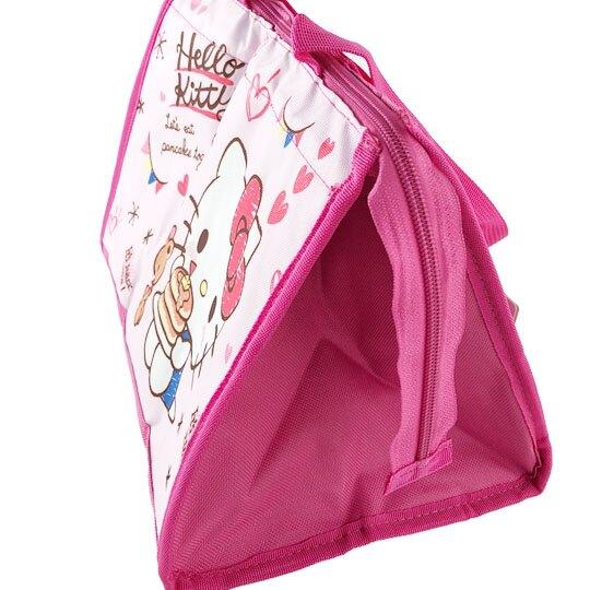 小禮堂 Hello Kitty 方形尼龍保冷便當袋 保冷提袋 野餐袋 手提袋 (粉 鬆餅)