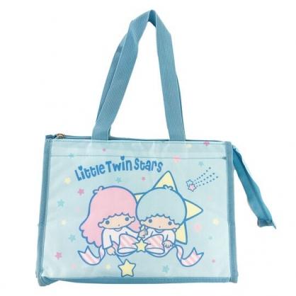 小禮堂 雙子星 方形尼龍保冷便當袋 保冷提袋 野餐袋 手提袋 (藍 星星)
