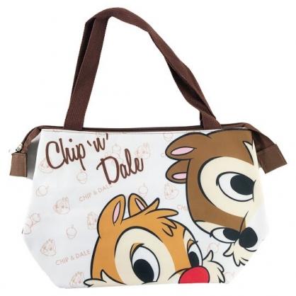 小禮堂 迪士尼 奇奇蒂蒂 橫式尼龍保冷便當袋 保冷提袋 野餐袋 手提袋 (棕白 探頭)