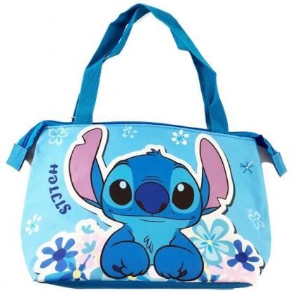 小禮堂 迪士尼 史迪奇 橫式尼龍保冷便當袋 保冷提袋 野餐袋 手提袋 (藍 花朵)