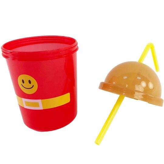 小禮堂 麵包超人 造型塑膠吸管杯 透明塑膠杯 飲料杯 隨手杯 330ml (紅棕 大臉)