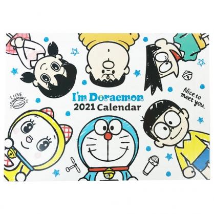 小禮堂 哆啦A夢 日製 2021 A4掛曆月曆 壁掛月曆 行事曆 年曆 (白 圍繞)