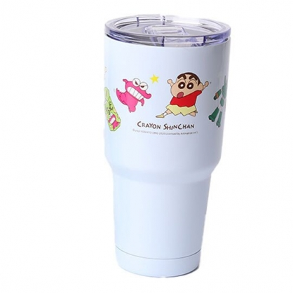 小禮堂 蠟筆小新 不鏽鋼真空酷涼杯 冰霸杯 隨行杯 保冰杯 900ml (藍 玩具)