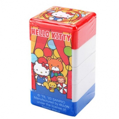 小禮堂 Hello Kitty 方形連續印章 四層印章 玩具章 手帳印章 (紅藍 汽球)