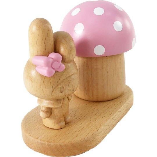 小禮堂 美樂蒂 造型木質音樂鈴 復古音樂鈴 旋轉音樂鈴 (棕粉 蘑菇)