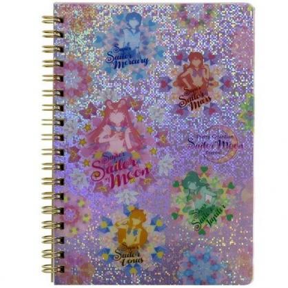 小禮堂 美少女戰士 日製 B6線圈筆記本 橫線筆記本 日記本 記事本 (粉 花朵)