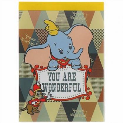 小禮堂 迪士尼 小飛象 日製 迷你便條本 便條紙 備忘錄 (綠黃 三角紋)