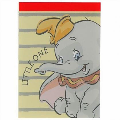 小禮堂 迪士尼 小飛象 日製 迷你便條本 便條紙 備忘錄 (黃灰 橫紋)