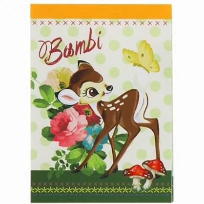 小禮堂 迪士尼 小鹿斑比 日製 迷你便條本 便條紙 備忘錄 (黃綠 花朵)