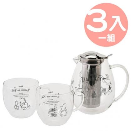 小禮堂 迪士尼 小熊維尼 日製 耐熱玻璃水壺水杯組 透明水壺 對杯 杯壺組 (書本)