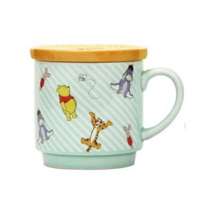 小禮堂 迪士尼 小熊維尼 陶瓷馬克杯 附木蓋 寬口杯 咖啡杯 茶杯 300ml (綠 斜紋)