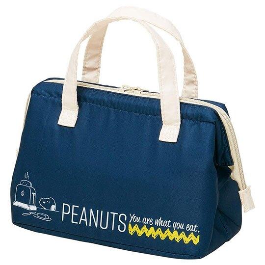 小禮堂 史努比 硬式支架尼龍保冷便當袋 保冷提袋 野餐袋 (深藍 狗碗)