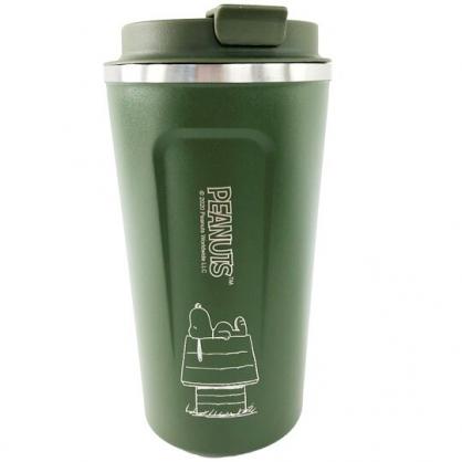 小禮堂 史努比 不鏽鋼隨行杯 隨身瓶 咖啡杯 保溫杯 510ml (深綠 屋頂)