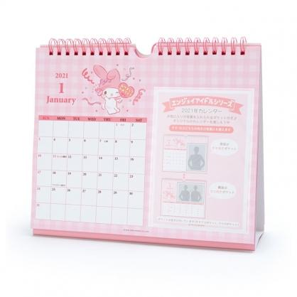 小禮堂 美樂蒂 日製 2021 線圈式相框桌曆 壁掛月曆 行事曆 月曆 年曆 (粉 格紋)