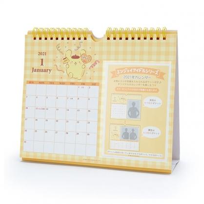 小禮堂 布丁狗 日製 2021 線圈式相框桌曆 壁掛月曆 行事曆 月曆 年曆 (黃 格紋)