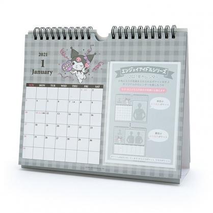 小禮堂 酷洛米 日製 2021 線圈式相框桌曆 壁掛月曆 行事曆 月曆 年曆 (灰 格紋)