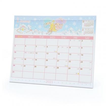 小禮堂 雙子星 日製 2021 透明架式桌曆 行事曆 月曆 年曆 (粉藍 星空)