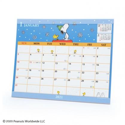 小禮堂 史努比 日製 2021 透明架式桌曆 行事曆 月曆 年曆 (深藍 星空)