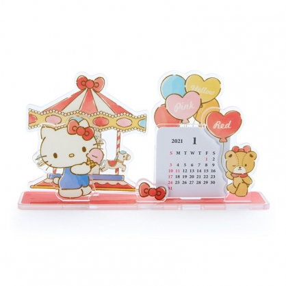 小禮堂 Hello Kitty 日製 2021 造型壓克力桌曆 行事曆 月曆 年曆 (紅 旋轉木馬)