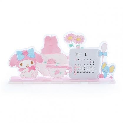 小禮堂 美樂蒂 日製 2021 造型壓克力桌曆 行事曆 月曆 年曆 (粉 下午茶)