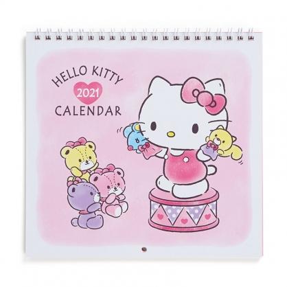 小禮堂 Hello Kitty 日製 2021 線圈式掛曆月曆 壁掛月曆 行事曆 年曆 (粉白 手偶)