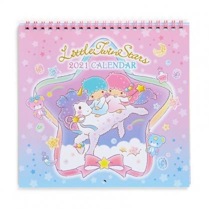 小禮堂 雙子星 日製 2021 線圈式掛曆月曆 壁掛月曆 行事曆 年曆 (粉藍 獨角獸)