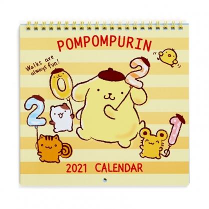 小禮堂 布丁狗 日製 2021 線圈式掛曆月曆 壁掛月曆 行事曆 年曆 (黃 橫紋)