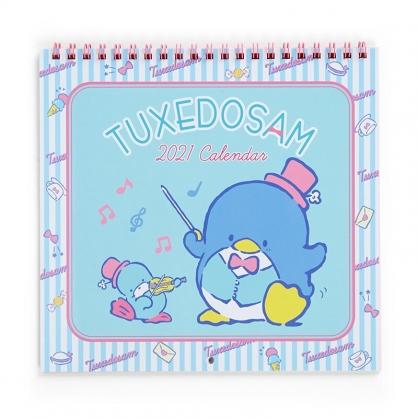 小禮堂 山姆企鵝 日製 2021 線圈式掛曆月曆 壁掛月曆 行事曆 年曆 (藍粉 音符)