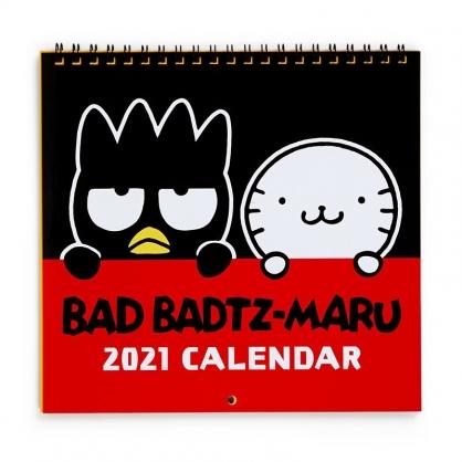 小禮堂 酷企鵝 日製 2021 線圈式掛曆月曆 壁掛月曆 行事曆 年曆 (黑紅 探頭)