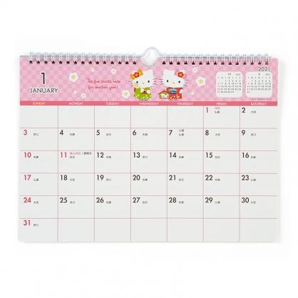 小禮堂 Hello Kitty 日製 2021 A4線圈式掛曆月曆 壁掛月曆 行事曆 年曆 (粉白 和服)