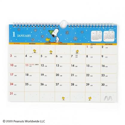 小禮堂 史努比 日製 2021 A4線圈式掛曆月曆 壁掛月曆 行事曆 年曆 (藍白 下雪)