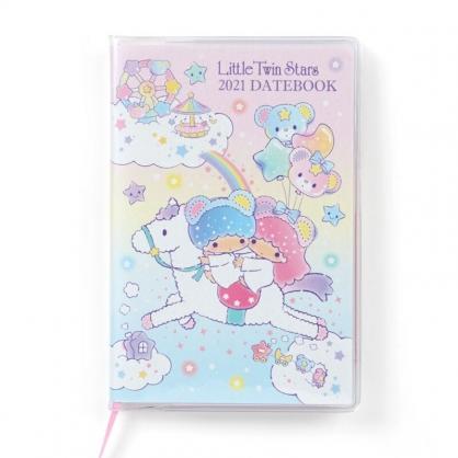 小禮堂 雙子星 日製 2021 迷你行事曆 手帳 年曆 記事本 (粉藍 獨角獸)