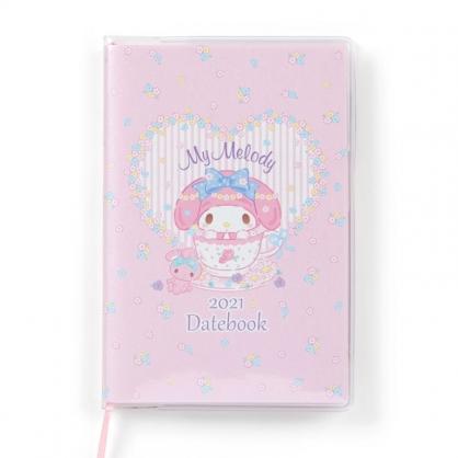 小禮堂 美樂蒂 日製 2021 迷你行事曆 手帳 年曆 記事本 (粉 愛心框)