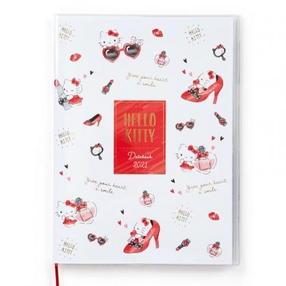 小禮堂 Hello Kitty 日製 2021 A5行事曆 手帳 年曆 記事本 附夾鏈袋 (白紅 高跟鞋)