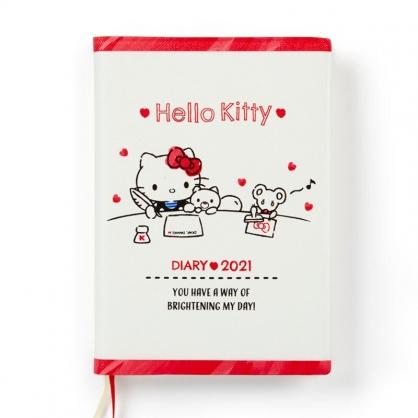小禮堂 Hello Kitty 日製 2021 A6皮質行事曆 手帳 年曆 記事本 (米紅 寫信)