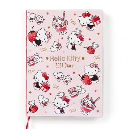 小禮堂 Hello Kitty 日製 2021 B6行事曆 手帳 年曆 記事本 (粉紅 草莓)