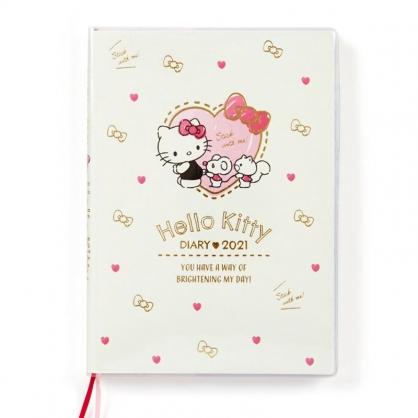 小禮堂 Hello Kitty 日製 2021 B6行事曆 手帳 年曆 記事本 (米紅 愛心框)